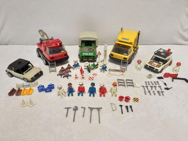 Kit Playmobil Trol Antigos, anos 1970, Caminhão, Carros, Polícia, Ferramentas