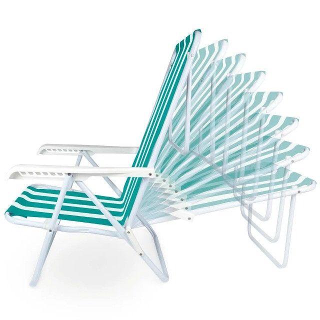 Cadeira Aço Reclinável 8 Posições Verde MOR - Foto 2