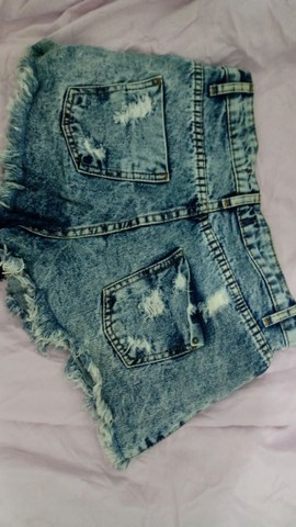 Short Jeans Cintura Alta Destroyed - Foto 2