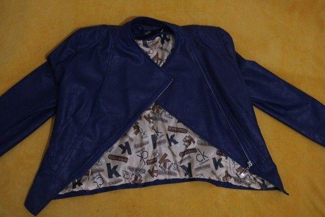 Jaqueta de couro sintético Old school- Tam. M - Foto 2