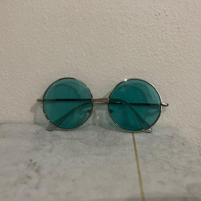 Óculos De Sol Redondo Circular Preto, Rosa ou Verde Unissex Retro Vintage Ozzy - Foto 6