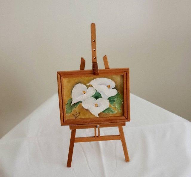 Pintura oleo sobre tela - Copo de Leite - suporte e moldura - cod 33 - Foto 2