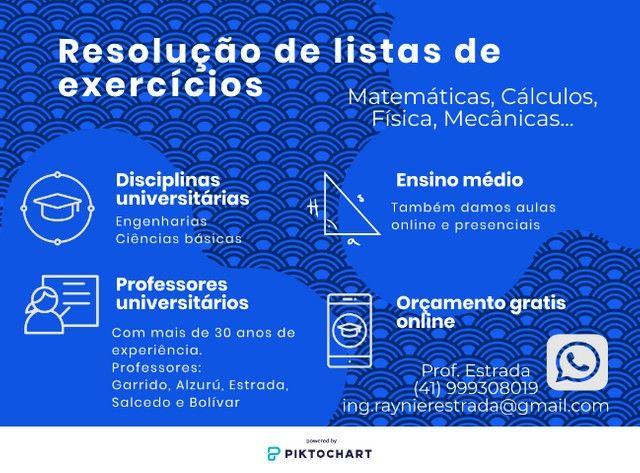 Lista de exercícios. Resolução e explicações. Ensino médio e Faculdade