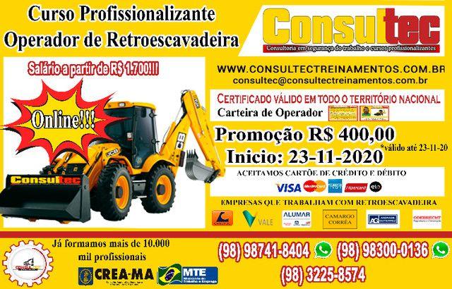 Curso de Operador de Retroescavadeira R$ 400,00 Inicio 23-11-2020