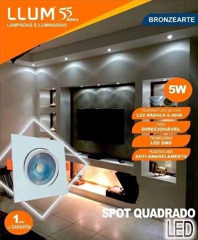 Kit 10 Spot Olho De Boi 5w Quadrado Branco Frio Direcionável - Foto 3