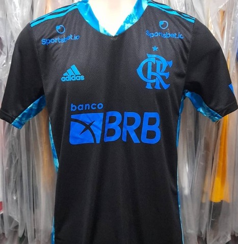 Camisa Flamengo Libertadores de jogo do jogador Diego Alves Preta com Azul