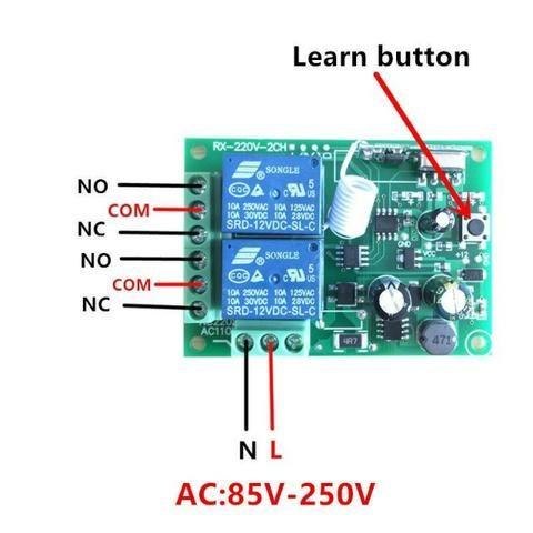 Receptor Controle Remoto Interruptor Ac 250 V 110 V 220 V 2ch Relé - Foto 5