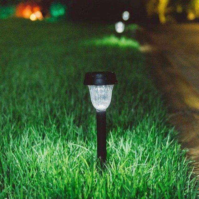 Kit 10 Luminária Espeto Solar Poste De Jardim Decoração Led - Foto 3