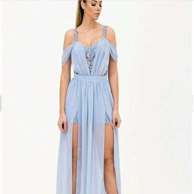 Vestido de festa Camila Siqueira azul serenity NOVO