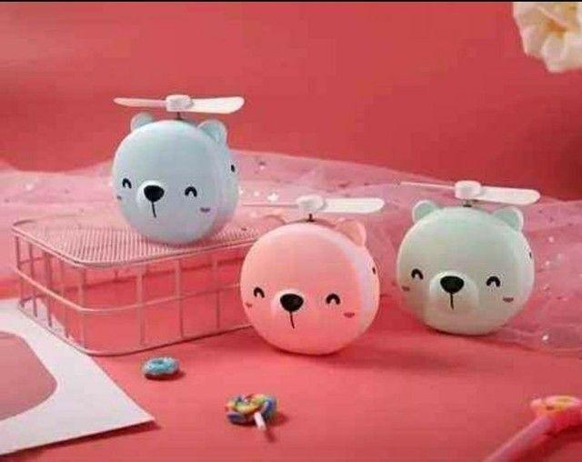 Mini Espelho Ventilador Porquinho Rosa Usb Iluminação Luz Led Para Maquiagem Portátil - Foto 4