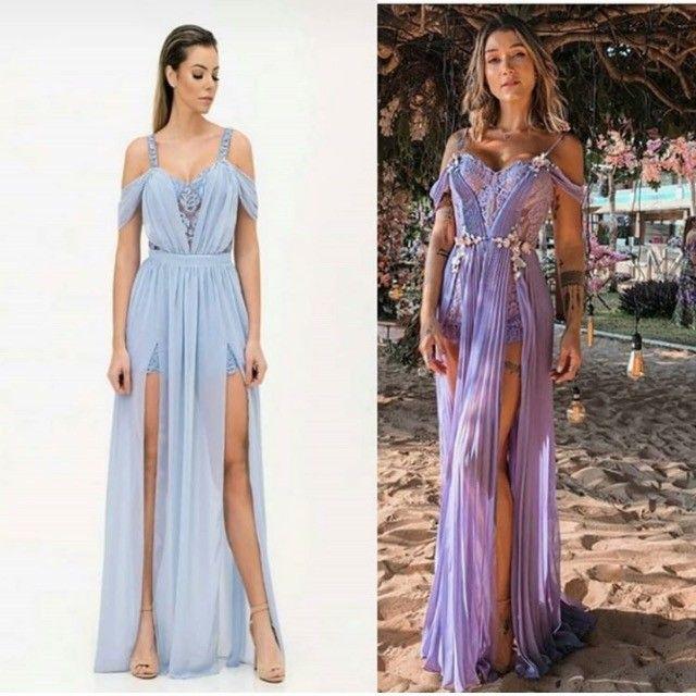 Vestido de festa Camila Siqueira azul serenity NOVO  - Foto 3