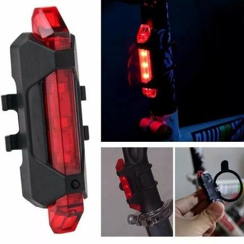 Lanterna Traseira Luz Leds Sinalizador Bicicleta Recarregável - Foto 3