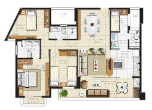 Apartamento no Cocó - 95m² - 3 Suítes - 2 Vagas (AP0534) - Foto 2