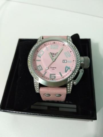 b364fdfed50 Relógio Pulso Everlast Com Pulseira Em Couro E064 Feminino