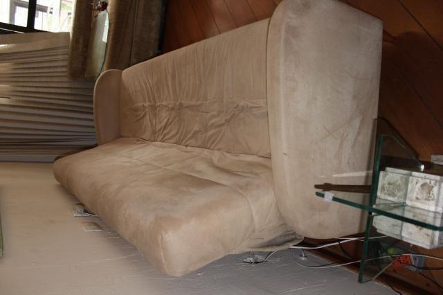 Sofá Cama em Tecido Bege 83cm x 206cm x 73cm - Foto 8