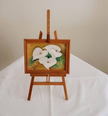 Pintura oleo sobre tela - Copo de Leite - suporte e moldura - cod 33 - Foto 3