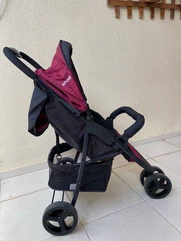 Carrinho de Bebê Travel System Trio Preto e Vinho com Bebê Conforto - Foto 4