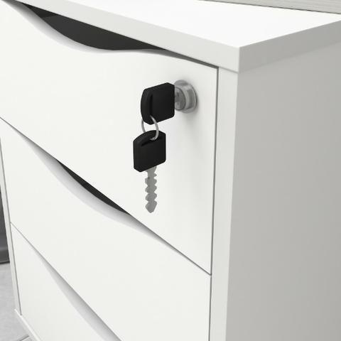 Gaveteiro 3 gavetas 100% Mdf com chaves cor branco - Foto 3
