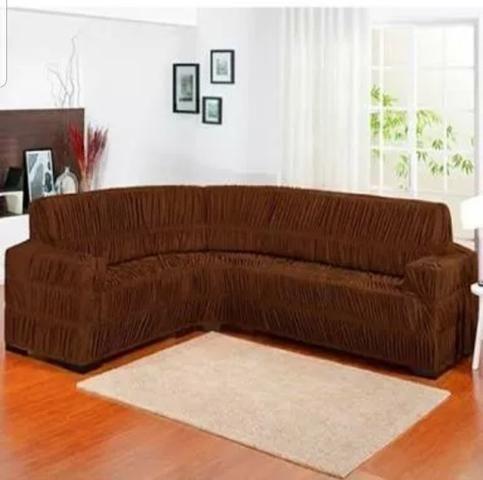 Capa de sofá de canto elasticada - Foto 3