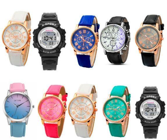 80404bec62b Kit 10 Relógios Feminino E Masculino Preço Atacado Varias Cores ...