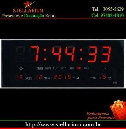 f4c6f0bcfc0 Relógio De Parede Grande Led Digital Calendário Termômetro ...