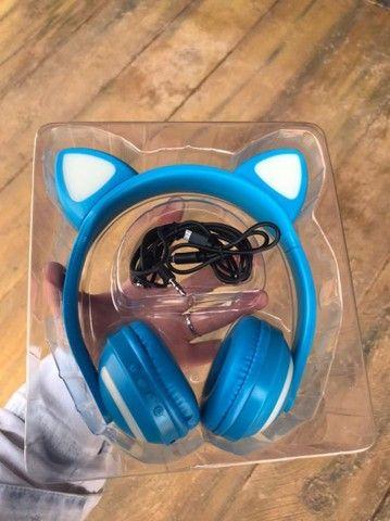 Fone de ouvido bluethoth gato Led - Foto 4