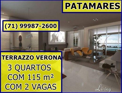 Terrazzo Verona, 3 Quartos, Suíte, 4 Varandas em 115m² - Por 479.000 em Patamares