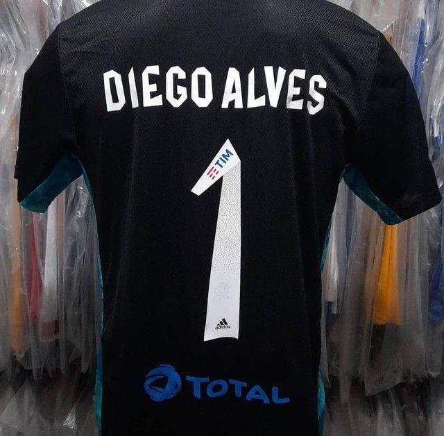 Camisa Flamengo Libertadores de jogo do jogador Diego Alves Preta com Azul - Foto 2