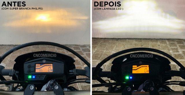 Lâmpada Moto Led Efeito Xenon H4 Super Branca 8000k 40w - Foto 3