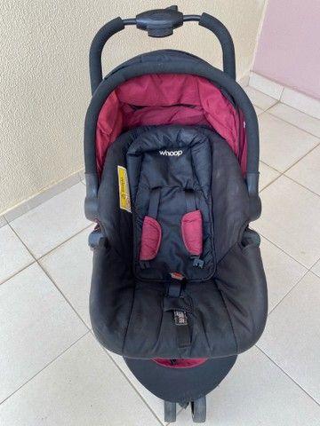 Carrinho de Bebê Travel System Trio Preto e Vinho com Bebê Conforto - Foto 3