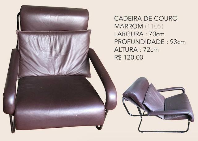 Cadeira/poltrona de couro marrom - usada (1105)