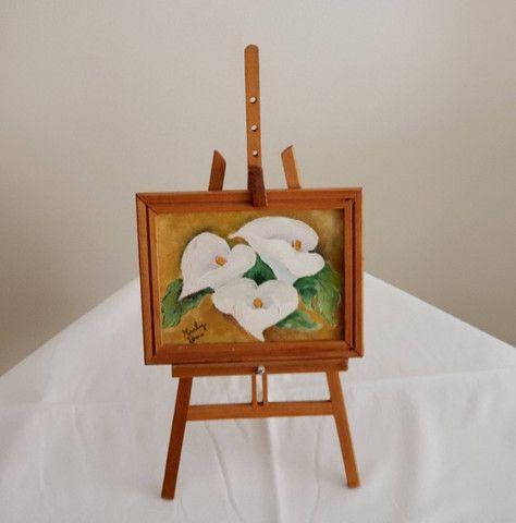Pintura oleo sobre tela - Copo de Leite - suporte e moldura - cod 33