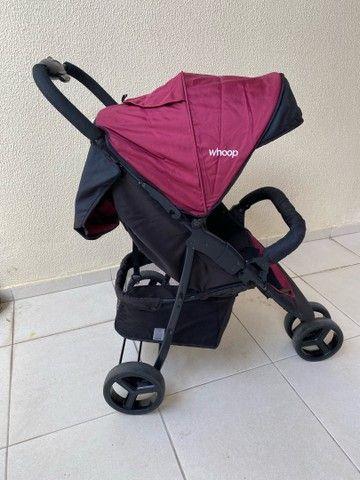 Carrinho de Bebê Travel System Trio Preto e Vinho com Bebê Conforto