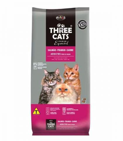 Three Cats Gatos Adultos Salmão, Frango e Carne 1Kg