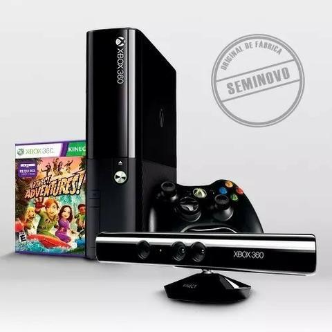 Vídeo Game Console Xbox X box 360 Original com Kinect 2 Manetes Controle Joystick 5 Jogos