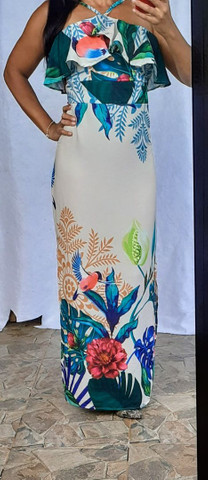 Vestido longo de Alçinha  estampado