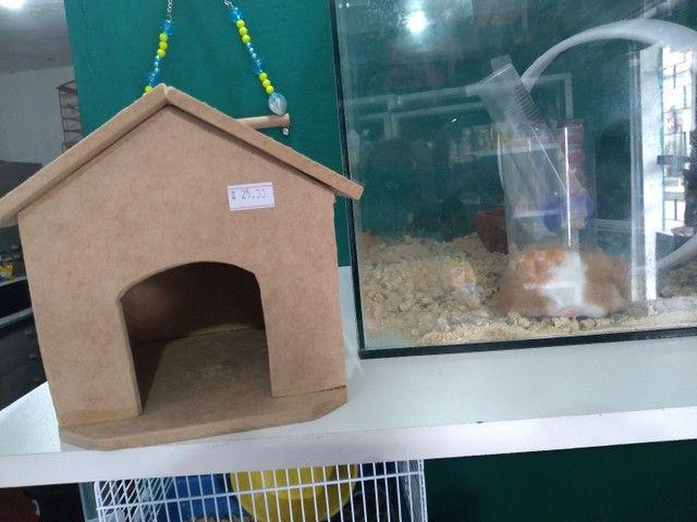 Casinha de madeira para hamsters