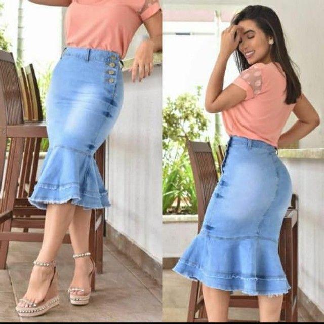 Saia jeans moda envagélica comprimento Midi com babado - Foto 2