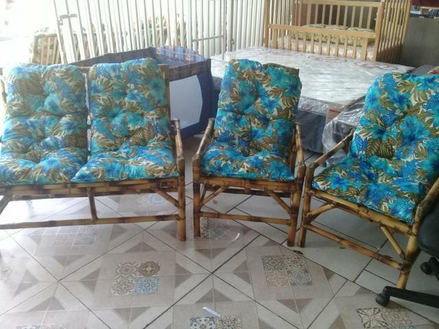 Conjunto novos de Cadeira de Bambu cana da Índia 4 lugares - Foto 2