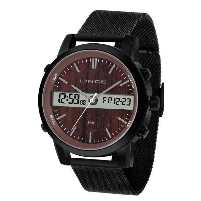 Relógio Lince Masculino Anadigi Preto Mostrador Marrom