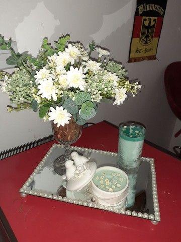Vaso ,bandeja e duas velas fragrância capim limão