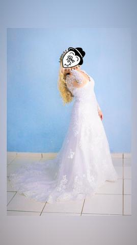 Vestido de noiva maravilhoso, acompanha coroa !!! - Foto 3