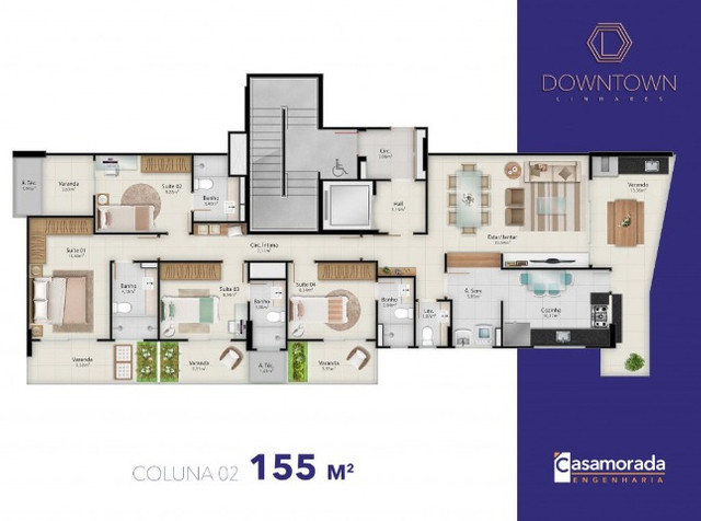Apartamento 4 quartos, 4 suítes, 3 vagas cobertas no Downtown Linhares - Foto 15