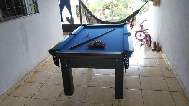Mesa Tentação Sinuca Cor Marrom Escuro Tecido Azul Mod. FWRO7509 - Foto 2