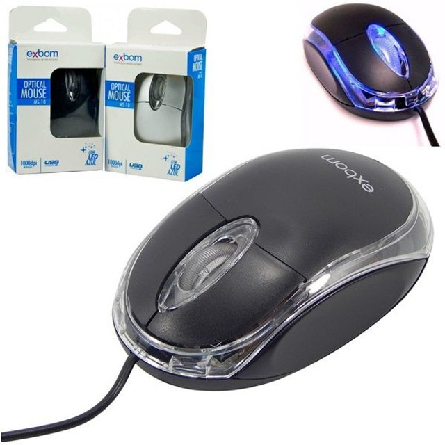 Mouse Classic Box Optico Usb Scroll Exbom Ms-10 Promoção