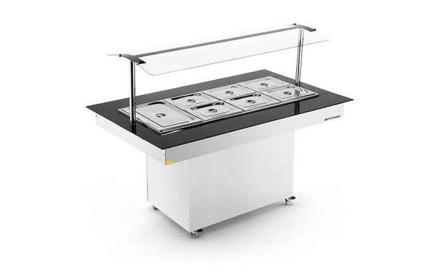 Buffet quente 8 cubas com vidro - JM equipamentos