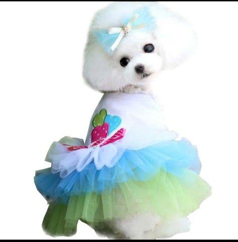 Vestido P/ Pet Cachorro Ou Gato Com Saia Em Tule Tam P Ou G