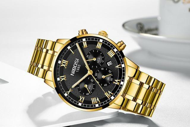 6f1d387b2d0 Relógio Masculino Nibosi 2339 Original 30m Prata  dourado ...