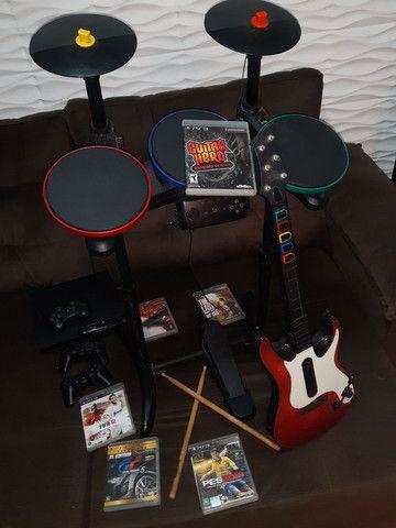 Bateria/Guitarra Guitar Hero + PlayStation 3 Ps3  + Jogos  - Foto 5