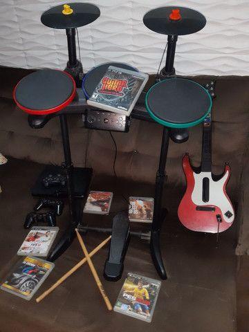 Bateria/Guitarra Guitar Hero + PlayStation 3 Ps3  + Jogos  - Foto 4